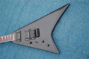 무료 배송 중국 사용자 정의 가게 최고 품질 왼쪽 손 비행 V 검은 일렉트릭 기타의 비브라토