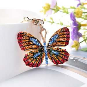 Creative Butterfly Keychain Rhinestone Alloy Car Key Chains Hot Selling Beautiful Butterfly Fashion Women Bag Pendant