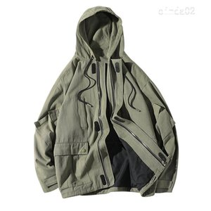 Hombre Nueva chaqueta de bombardero de los hombres de moda retro Herramientas del viento Chaqueta Tejana Hombre ocasional floja Escudo calle con capucha de Hip Hop