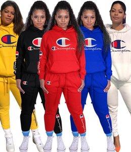 Şampiyon Kadınlar Eşofman İki Adet Kıyafetler Uzun Kollu Cep Kapüşonlular Tozluklar Pantolon Sonbahar Sportwear Artı boyutu Kadın Giyim 2327