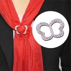 Korean Fashion Simple Women's Butterfly Rhinestone Scarf Buckle brooch Clip Heart Shape Shawl Buckle New Charming Gift Jewelry 12pcs lot