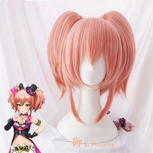 THE IDOLM @ STER CINDERELLA MIKA JOUGASAKI rosa 2 Parrucche per capelli stile coda di cavallo