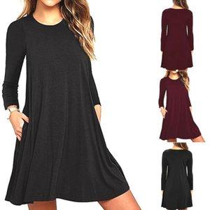 Kadınlar Bayanlar Kış Moda Yeni Stil Casual Katı A Hattı Elbise Uzun Kollu Yuvarlak Yaka Kısa Elbise Pockets