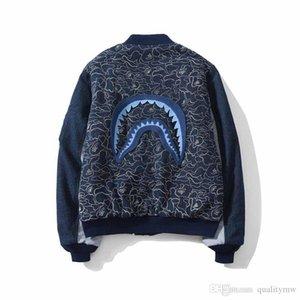Fashion streetwear mens winter zipper jackets street fashion shark head Tang style wind denim wash cloth embroidery baseball coats