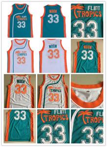 Flint Tropics Film Sürümü # 33 Jackie AY İşlemeli Basketbol Jersey Dikişli Beyaz Yeşil Turuncu