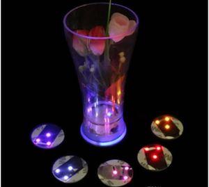 LED estera de la taza LED universal botella de luz pegatina redonda impermeable a prueba de agua posavasos estera Paster alto brillo ultra delgado taza pegatinas regalo del partido