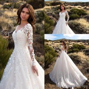 Superbe Ivoire Sheer manches longues robes de mariée sexy dos nu dentelle Tulle Robes de mariée Robe de mariage 2019 Nouvelle Arrivée BA6671