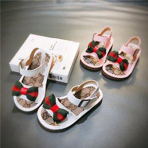Детские дизайнерские сандалии дети девушки лето роскошные письма Priented с бантом сандалии девушки мода Пляжная обувь дети повседневные сандалии