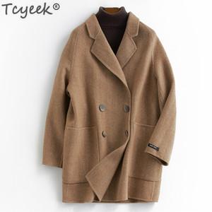 Tcyeek Femmes Vêtements d'hiver Veste de laine Naturelle Veste coréenne Mode Longues manteaux Femme Automne Spring Double boutonnage LWL1306