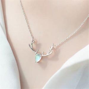 S925 bunter Elch Halskette einfacher Wald Sterling Silber Claviclekette Netz rot Persönlichkeit Temperament Halskette Schmuck Frauen