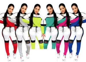bloque de dulces mujeres chándales Spring Mesh remiendo color de dos piezas Set con capucha y camisetas Pantalones Leggings casual juego del deporte del desgaste de la gimnasia D21901