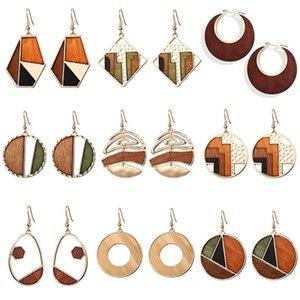 Cuelgan el pendiente de madera de madera en rollo 17KM Brincos la vendimia pendientes de gota para las mujeres 2020 geométrica cuadrada de la joyería femenina