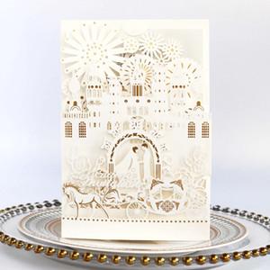 Palais luxueux arc blanc élégant laser couper les invitations de mariage cartes creux personnalisé carte d'invitation de fiançailles avec enveloppe