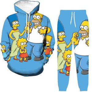 Moda casual wear all'ingrosso hoodie stampato digitale 3D maschile Simpsons suits2