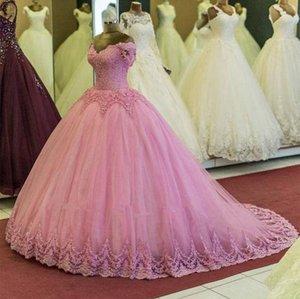 Nouveau Incroyable Dusty Rose boule Robes Quinceanera froide épaule Applique Corset en dentelle de perles Retour arabe Dubaï Prom Party Robes