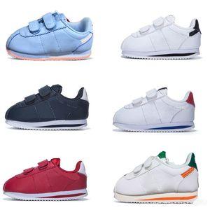 Cortez Basic SL TDV детские кроссовки белые черные новорожденные кроссовки младенца запускают детские спортивные туфли открытый маленький большой ребенок тренеров