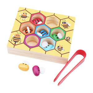 Los niños colmena juegos inteligencia color cognición juguetes de madera temprana montessori educación infantil clip abeja pequeña juguete