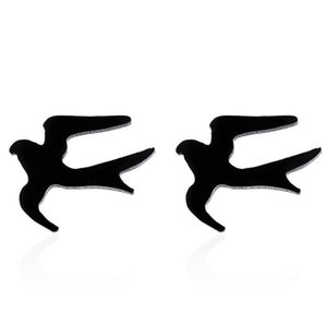 Pássaro de vôo original pouco andorinha de aço inoxidável parafuso prisioneiro brincos-brilhando