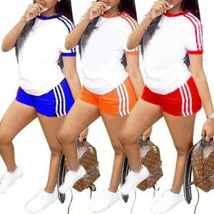 Manga curta camiseta Shorts Womens Fatos roupa das senhoras 2020 Designer Verão Mulheres 2 Piece Outfits listrado Paneled