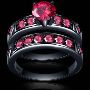 bague rouge vif rouge grenat femmes belle bijoux de mariage or noir complet couple bague ensemble Bijoux femme homme