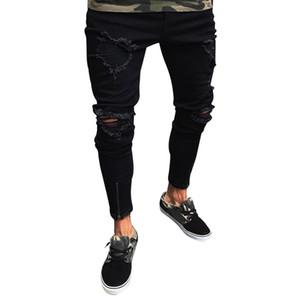 SHUJIN Jeans da uomo in denim elasticizzato di cotone con foro distrutto per l'estate 2019 Pantaloni slim fit strappati aperti al ginocchio