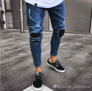 Mens High Street Fashion Pencil Pants Jeans Male Ripped Holes Zipper Design Blue Jeans Distressed Biker Washed Denim Pants Mens Jeans