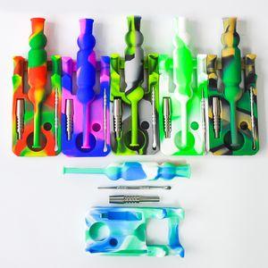 Silikon Nektar Collector-Kits mit 14mm Gelenke Ti Nagel Nektar Kollektor Bohrinseln Silikon Glasbongs Wasser Rohr dab freien Versand Rigs