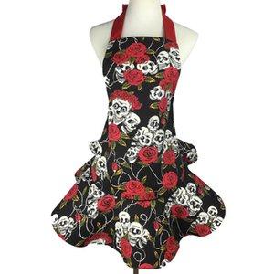 Rose Skull Character Tabliers Sans Manches Pinafore Fleur Herbe Leafv Save-Tout Rouge Et Noir Couleur Avec Haute Qualité 24dj J1