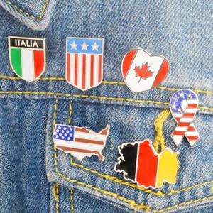 Europa e modo dei perni americano The World Map and Flag spilla di design Pins Jeans collare Breastpin