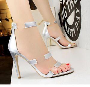 Hot Heels Sale-Womens sandálias para mulher Couro Bombas sapatos Vestir salto agulha sandálias Ankle Strap Sandals