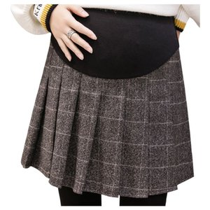 Spring Plaid maternity skirt spring and autumn style tide mother winter wear pregnant loose wear belly leggings pleated skirt