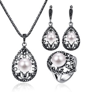 cashou38 Vintage Pearl Necklace Set Anel Gotas conjunto de três peças