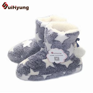 Suihyung Women Winter Warm Fleece Indoor Shoes Stars Home Plush Slippers Hair ball Indoor Floor Shoes House Slip On Mejur Botas Y200706