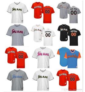 2018 der kundenspezifischen Männer Frauen Jugendliche Miami Marlins Jersey 14 Martin Prado 27 Giancarlo Stanton Haus Orange Weiß Grau-Baseball-Shirts fein