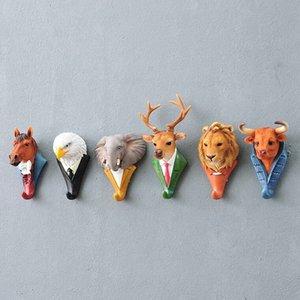 Nouveau mode animal décoratif Crochet cerf Lion aigle Gorilla Rhino Elephant Cheval Crochet Creative Décoration murale Cadeau de Noël SH190920