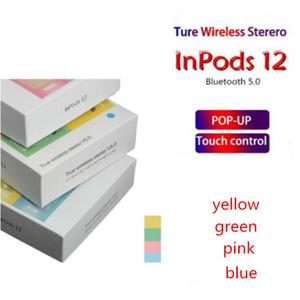Mais recente Macaron Inpods 12 TWS toque botão hi-fi estéreo fones de ouvido blue tooth sem fio com carregamento caso