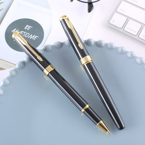 Black and stainless steel Business office Rollerball Pen New school students to learn culture Gift Ballpoint pen Hot