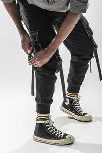 Men Black Joggers Pants Male Streetwear Overalls Sweatpants Mens Big Pockets Ankel zipper Cargo Pants 866#