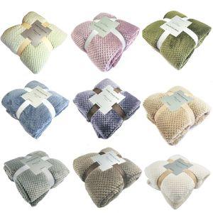 Flannel Bed Blanket Super Soft Warm Fleece Blanket Mesh Pattern Towel for Aircraft Bed Car Travel 70*100CM High Quality