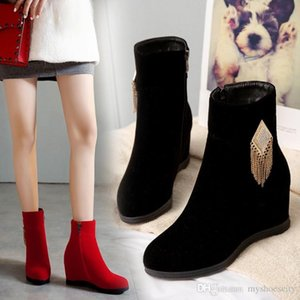 size 34 to 43 women ankle boots luxury designer women booties red black increased height wedge shoes