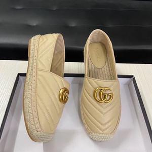 designer de alta qualidade Marca alpercatas de couro genuíno grossas solas das sapatas de lona mulheres # 39s apartamentos Plataforma sapatos moda sapatos Plus Size