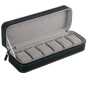 6 fente boîte de montre Case Zipper Voyage Portable Collector stockage Bijoux Boîte de rangement (Noir)