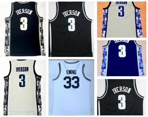 Università di jersey Georgetown College Basketball, Ewing 33 Iverson 3 usura formatori College Basketball, negozi online di sconto in vendita