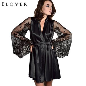 Elover مثير رداء النوم الساخن المثيرة داخلية النساء مثير الرباط المرقعة الحرير البشكير نوم النوم Y19070302