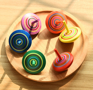 Classic Rainbow Wood Gyro Toy Multicolor Mini Cartoon Wooden Spinning Top Toy Learning Educational Toys for Kids Kindergarten toys