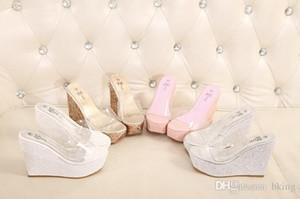 Wholesale-2016 Transparente Frau Hausschuhe Wedges Sandalen Super High Heels weiblichen Sommer Strand Plattform rutschfeste hohe Schuhe zapatos mujer