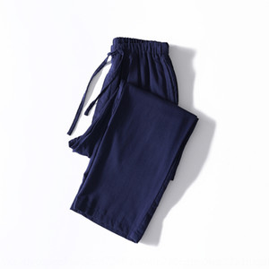 Season couples home pants pure cotton men's loose Home furnishing pants Autumn Mid-waist cotton double-layer yarn
