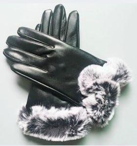 brand new women Sheepskin leather bright gloves female winter warm fashion Windproof Antifreeze gloves