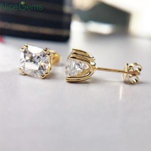 NiceGems Katı 14K Sarı Altın Çift çatal Ezilmiş Yastık Kesim Moissanite Diamond Stud Küpe D Renkli Bayanlar Geri itin İçin