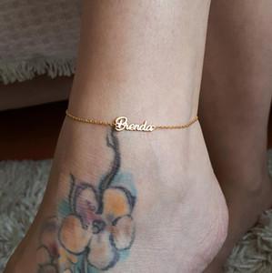Dainty Gold Color Custom Name Anklet Personalizado Joyería personalizada BFF Regalos Letrero Tobilleras Mujeres Pie Pulsera Cheville
